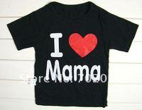 Футболка для девочки 16pcs/lot Baby clothes baby shirt/T-Shirt boy &girl Short-Sleeve Shirt I love papa mama t-shirt size:73 80 90 100