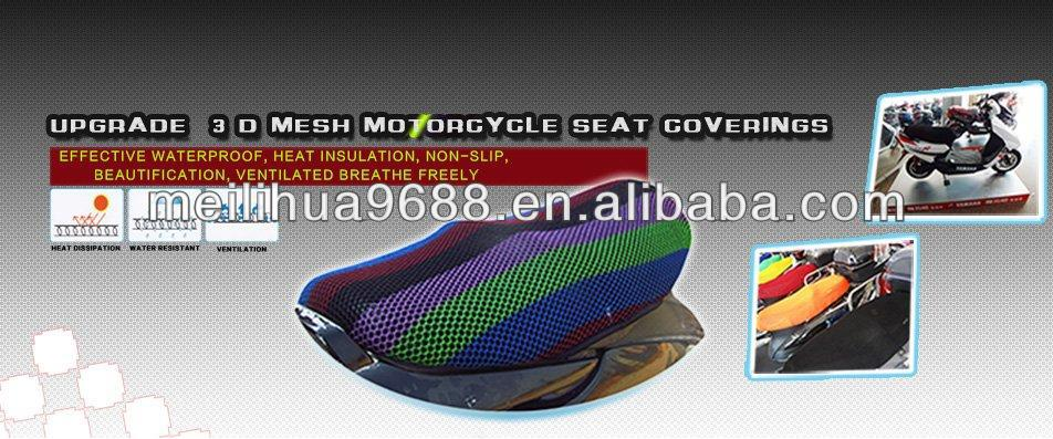 Free sample Black Kawasaki Motorcycle 3D MESH seat covers