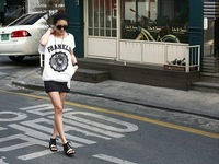 Женские толстовки и Кофты 2013 fashion women's print short-sleeve t-shirt+ short skirt casual sports set 4 colors chosen#V027
