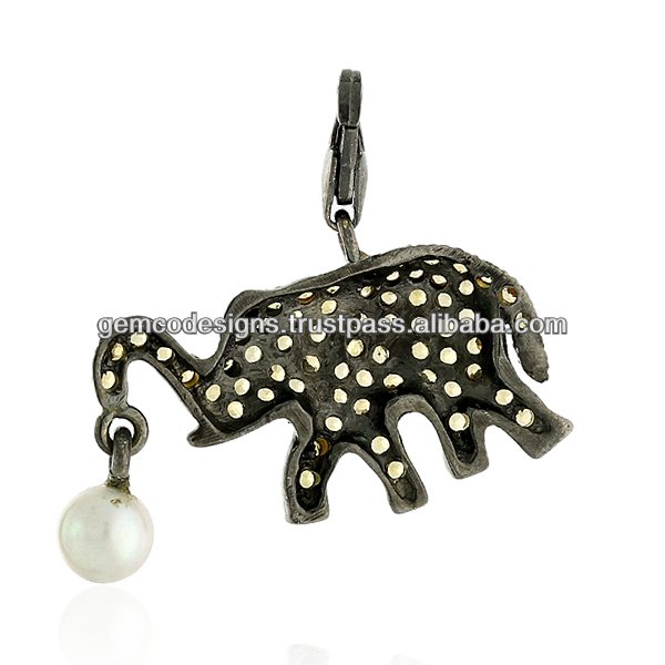 Yellow Sapphire Gemstone Elephant Charm Pendant Jewelry