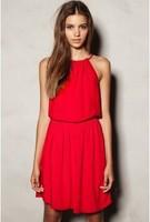 Женская туника для пляжа Red Sleeveless Casual Summer Dress
