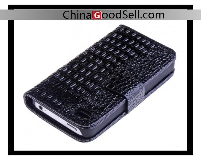 chinagoodsell-Croco leather wallet case for iPhone 4,for iPhone 4s mobile phone case in black,white,red