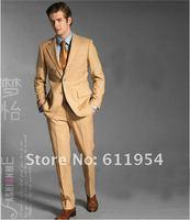 новые Мужские костюмы две односпальные-грудью бизнес костюм отдыха костюм бронзового хлопок