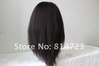 "2012 18"" #1b Kinky straight 100% human hair indian remy full lace wig natural baby hair High quality free shipping on sale"