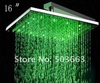 """Аксессуары для смесителей 16"""" Square Rainfall 3 Colors Chromed LED Rain Shower Head CM0065"""