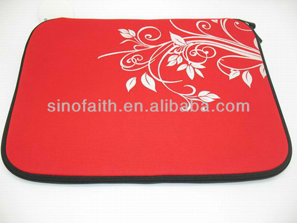 with silk screen printing red neoprene laptop cases for girls