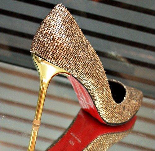 2012 golden high heels bridal shoes high heel dress shoes. Black Bedroom Furniture Sets. Home Design Ideas