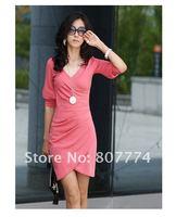 Осенний Корея v шеи платье три четверти рукав платье нерегулярных розовый, черный eveningdress plested