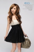 Женское платье 2013 Hot Sale summer woman Sleeveless Lace U-neck Sequins Embellished Seamed Dress E10081116