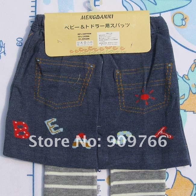 Freeshipping Children Clothes Set Kid's Blue Skirt with Grey Striped Tight Pants 3sizes Mixed TR101 3set lot Wholesale