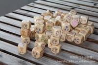 KK074 fun dice king-3cm patterned wooden dice the housework dice appointment diceA02