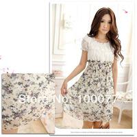 Новая мода весна, дрожа женщин платья sweety цветочный узор упругие талии короткий рукав шифона платье для женщин