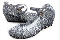Туфли на высоком каблуке Color shining crystal hollow out mesh plastic you sandals flowers jelly shoes plastic shoes wedge bird's nest shoes