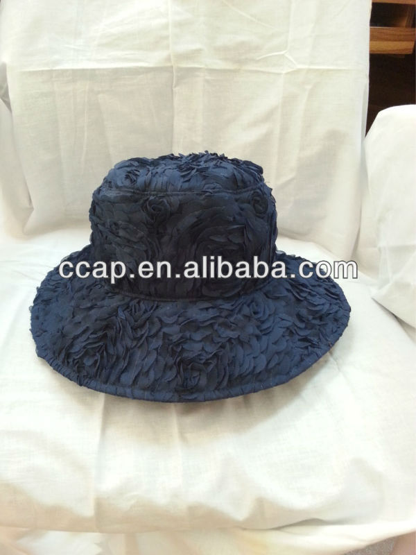 ladies polyester flower layered bucket hat