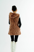 Hot Sale Free Shipping Women Rabbit Fur Vest with hood