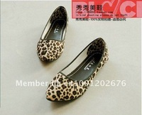 Женская обувь на плоской подошве New spring shoes single shoes leopard ribbon flat with flats leisure shallow mouth of comfort women's shoes