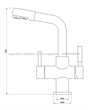 brass two spouts two handle 3 ways drinking water faucets