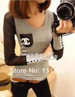 Free shipping 2013 Fashion CC Sexy Net Yarn Long Sleeve Women's Clothing T shirt F21264100434
