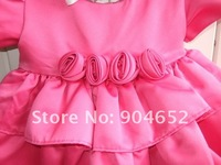 Платье для девочек 2012 dress baby girl's Summer cute pink cake princess/flower girl dresses size 12M-4T