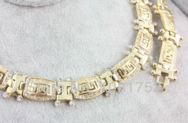 Бесплатная доставка мода модный горный хрусталь кольцо серьги ожерелья и браслет африканских позолоченный набор ювелирных изделий для женщин