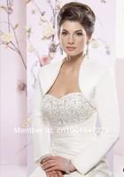 Свадебная накидка W0020 NEW Wedding White Satin Bolero Shrug Jacket Stole Coat LONG Sleeve