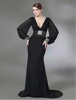 Elegant Mermaid V-neck Sweep Train Black  Chiffon And Stretch Satin Beads Working Evening Dress