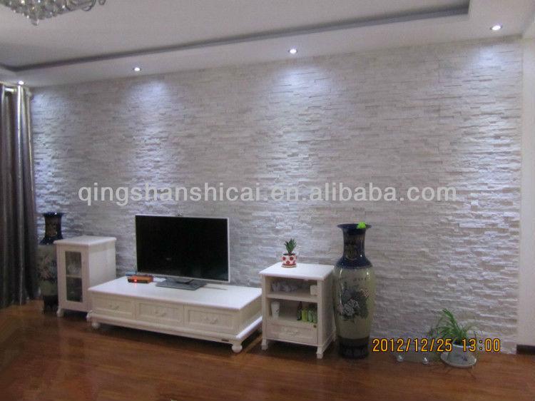 White glacier quartz natural split wall cladding ledger - Wall cladding for living room ...