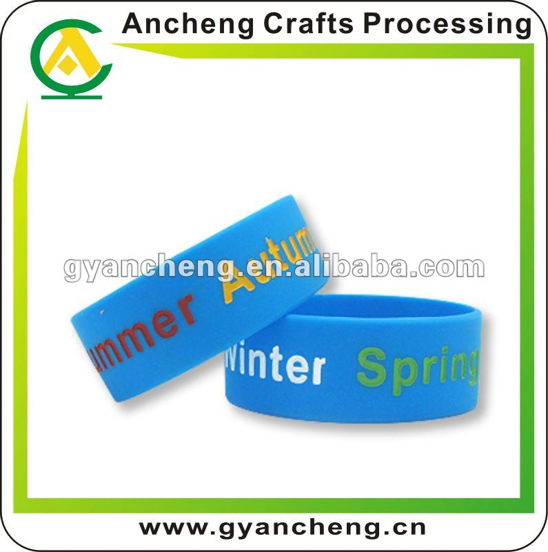 1 inch width screen prints silicone bracelets public benefit activities promotional products