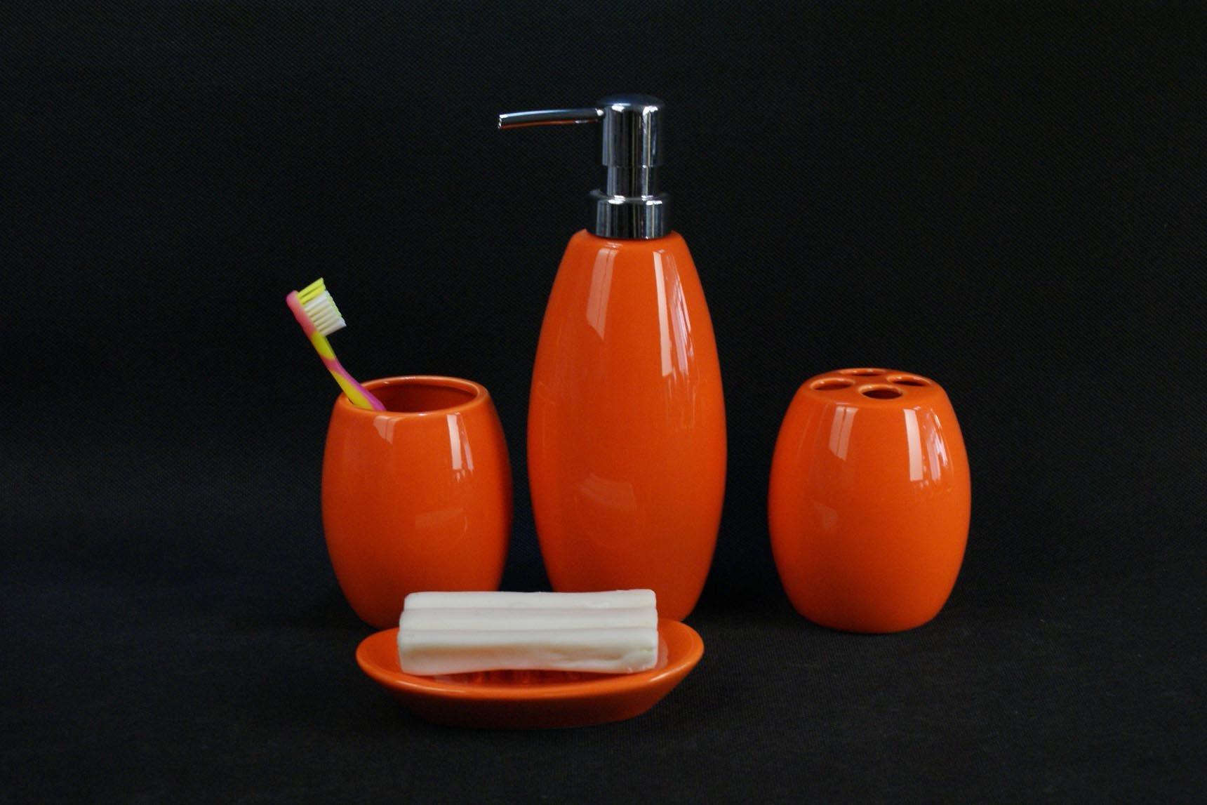 orange bathroom accessories  classia for ., Bathroom decor