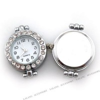 Fashion 3pcs/lot New Style White Watch Face Alloy Charms Bead Rhinestone Bead Fit European Bracelet Handmade 151045
