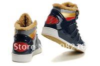 Мода Мужская зимняя кроссовки с плюшевыми бренд высокого верхнего кожа обувь Сапоги отдых черный/белый/серый/синий 40-44