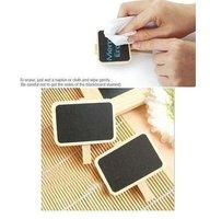 Free shipping+100pcs/lot Lovely wooden Super Mini Clip blackboard & message board