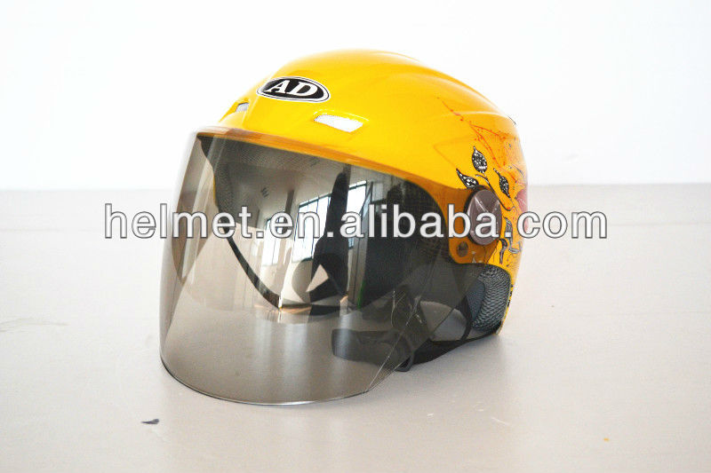 Yellow half open summber helmet/ brown face shield AD-805