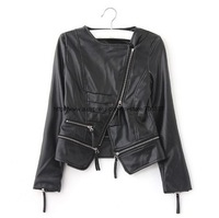 Женская одежда из кожи и замши Retail, Leather Jacket Women, Women's Jacket, Motorcycle Jacket, Black/JK-046