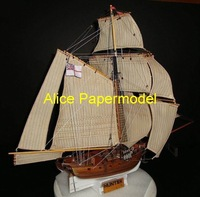 [Alice papermodel]18th century Empire navy HMS Hunter Galleon Sailing sailboat warships yacht models