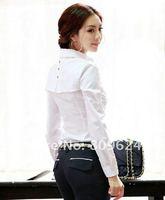 2012 new fashion women blouse ladies business shirt OL dress cotton long sleeve tops elegant White/black work shirts