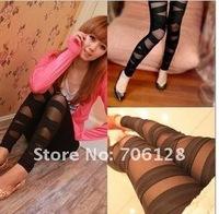 Женские брюки NEW! KO KO Korean Slim fashion avant-garde hole bundled yarn splicing pantyhose leggings