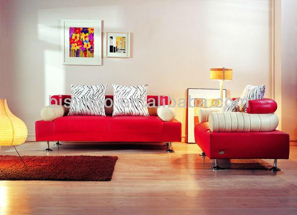 Simple rouge en cuir canap japonaise l gant salon for Salon japonais