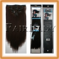 Шиньон на клипсах Clip In Remy Human Hair Extensions 70g, 7pcs/set #2 Dark Brown 1set/Lot
