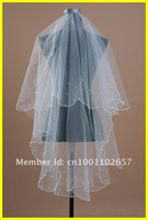 Retailing ONLY $ 4.89+ Free Shipping ! 1T Layer  Wedding Veil White Ivory Bridal Accessory Head Veils Wave Edge Beaded  WV-03