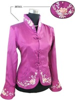 Женская куртка white Chinese Women's Satin Polyester Embroidery Jacket Coat S M L XL XXL XXXL J1451