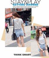Женские шорты 2012 Korean ladies ' new handsome wild high waist jeans rivet light blue shorts 8499