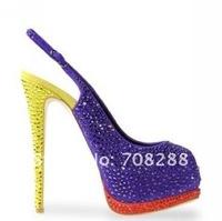 Туфли на высоком каблуке Brand high heels open toe crystal platform shoes high heel pumps ladies shoes
