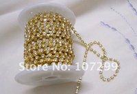50% off! Only 3 Days!! TRACKING No.--10yd 2mm A-Grade Rhinestone Silver Diamante Chain Craft