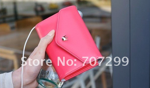 Mobile Phone Wallet Case for iPhone 4 4S, New Crown Smart Pouch Leather Handbag Purse Case for iPhone4 4S 4G, Free Shipping