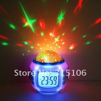 Будильник New Sky Star Night Light Projector Lamp Bedroom Alarm Clock W/music Children gifts