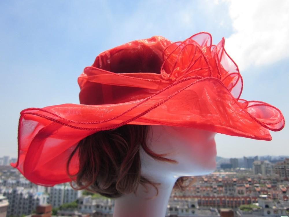 A002 Дамы Органзы Hat Кентукки Дерби Свадьба Церковь Партия Цветочные Hat