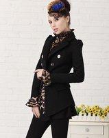 высокое качество Золотой кнопку Длинные шерстяные пальто черный