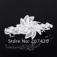 Ювелирное украшение для волос hot selling 6cm silver crystal windmill hair barrette, rhinestone windmill flower hair clip, 12pcs/pack