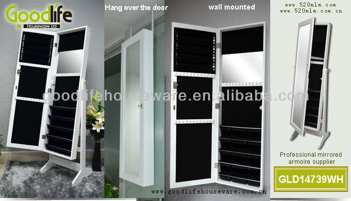 made in china wooden white painted jewelry wall display cabinet